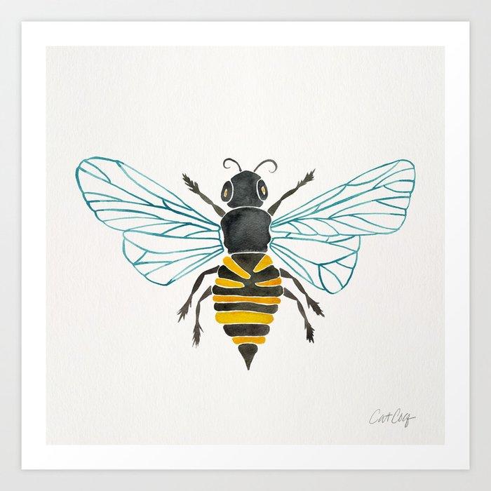 Honey Bee Art Print By Catcoq Society6