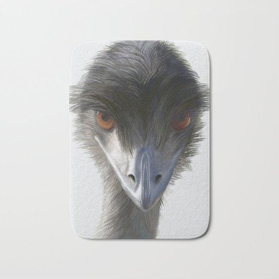 Suspicious Emu Stare, watercolor Bath Mat