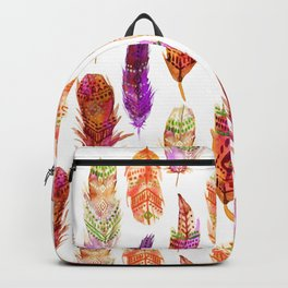 Watercolor Orange Feathers Backpack