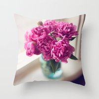 peony Throw Pillows featuring Peony by Jenny Ardell