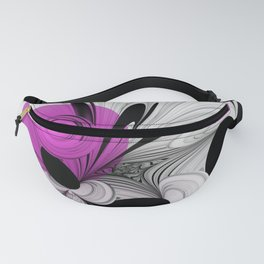 Abstract Black and White with Pink Fanny Pack
