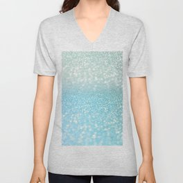 Mermaid Sea Foam Ocean Ombre Glitter Unisex V-Neck