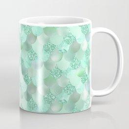Pretty Mint Green Mermaid Scallops Pattern Coffee Mug