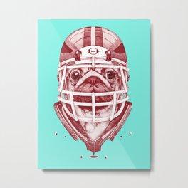 American Pug Football Red Metal Print
