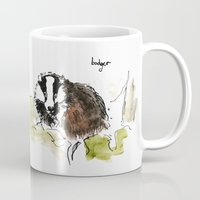 badger Mugs featuring Badger by Kathryn Marten