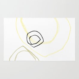 Minimalist Line Drawing Yellow Abstract Shapes Rug