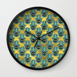Decorative Hamsa Hand pattern on gold Wall Clock