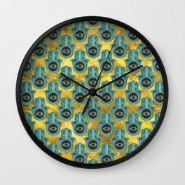 Decorative Hamsa Hand pattern on gold Wall Clock