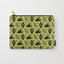 Mid Century Modern Boomerang Abstract Pattern Chartreuse and Black 361 Carry-All Pouch