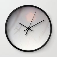 plane Wall Clocks featuring Plane by Emma Berlin
