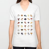 mushrooms V-neck T-shirts featuring MUSHROOMS by saimi t