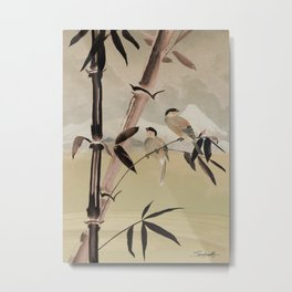 Two Birds in Bamboo Tree Metal Print