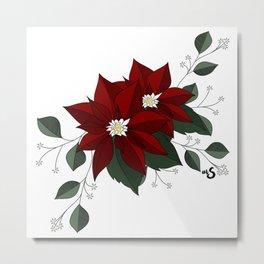 Nochebuena Poinsettia Metal Print
