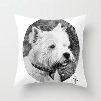 harry Throw Pillows featuring Harry by Jan Szymczuk