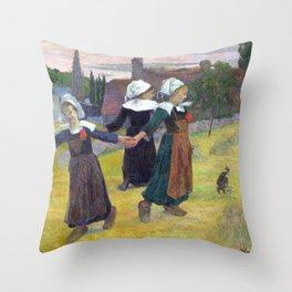 Paul Gauguin Breton Girls Dancing, Pont-Aven Throw Pillow