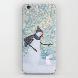snowman and white rabbit iPhone Skin