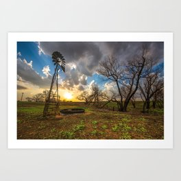 Twilight - Charred Landscape Comes Back to Life at Sunset in Kansas Art Print