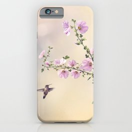Humming bird and Hollyhock flowers in the garden iPhone Case