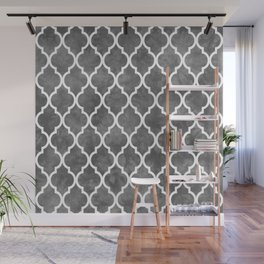 Classic Quatrefoil Lattice Pattern 915 Gray Wall Mural