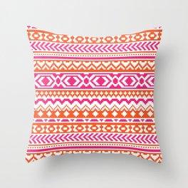 orange and hot pink aztec pixel pattern throw pillow