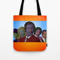 anchorman Tote Bags featuring Anchorman by CultureCloth
