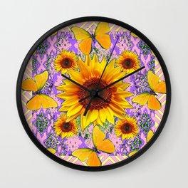 Purple Yellow Pattern  Butterflies Sunflowers Flowers Art Wall Clock