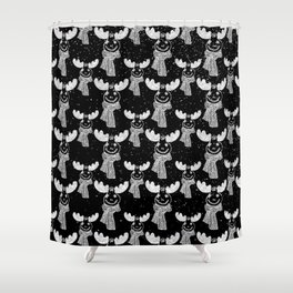Funny Moose in Winter Snow on Black - Wild Animals - Mix & Match with Simplicity of Life Shower Curtain