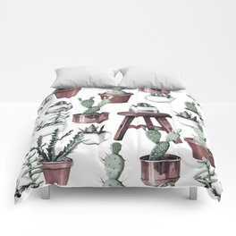 Happy Potted Cacti in Rose Gold Pots Comforters