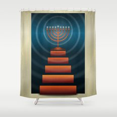 Art Deco Hanukkah Menorah Shower Curtain