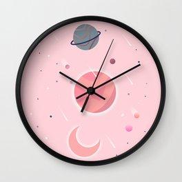 Pink Cosmos Wall Clock