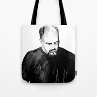 louis ck Tote Bags featuring DARK COMEDIANS: Louis C.K. by Zombie Rust