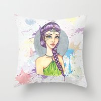 princess Throw Pillows featuring Princess by Lagoonartastic