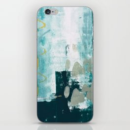 023.2: a vibrant abstract design in teal green and yellow by Alyssa Hamilton Art  iPhone Skin