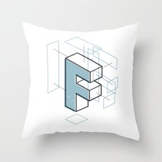 The Exploded Alphabet / F Throw Pillow