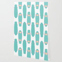 Pastel Skateboards Pattern Wallpaper