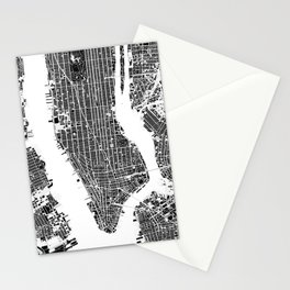 New York city map black and white Stationery Cards