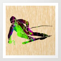 skiing Art Prints featuring Skiing by marvinblaine