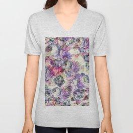Vintage bohemian rustic pink lavender floral Unisex V-Neck