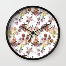Watercolor Seamless pattern with Beautiful flowers and forest berries, Watercolour painting Wall Clock