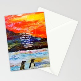 True Friendship Inspirational Love Quote With Penguins Painting Stationery Cards