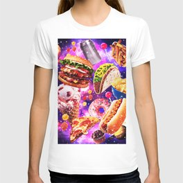 Junk Food Sparkly in Ggalaxy Space Cosmos for Hungry Traveler Burger Taco Sweets Pizza T-shirt