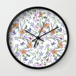 simple flowers on white background . artwork Wall Clock