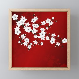 Red Black And White Cherry Blossoms Framed Mini Art Print