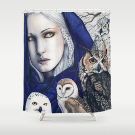 Wisdom Owls Fantasy Art Woman Shower Curtain