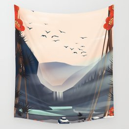 Cartoon landscape in the evening. Wall Tapestry