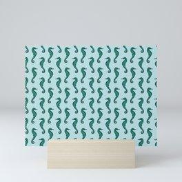 Seahorse Pattern   Vintage Sea Creatures   Nautical Patterns   Blue   Green   Mini Art Print