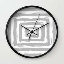 Minimal Light Gray Brush Stroke Square Rectangle Pattern Wall Clock