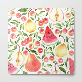 Watercolor fruits Metal Print