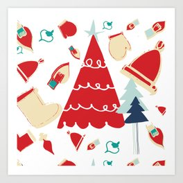 Christmas tree red Art Print