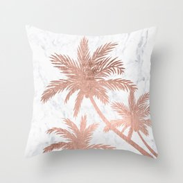 Tropical simple rose gold palm trees white marble Throw Pillow